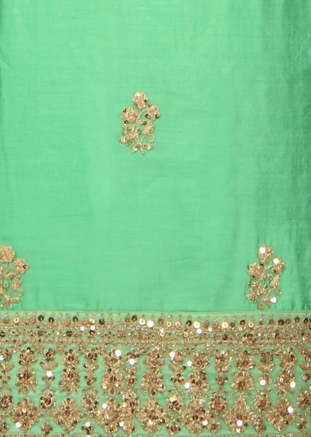 Sea green unstitched suit in kardana embroidery only on Kalki