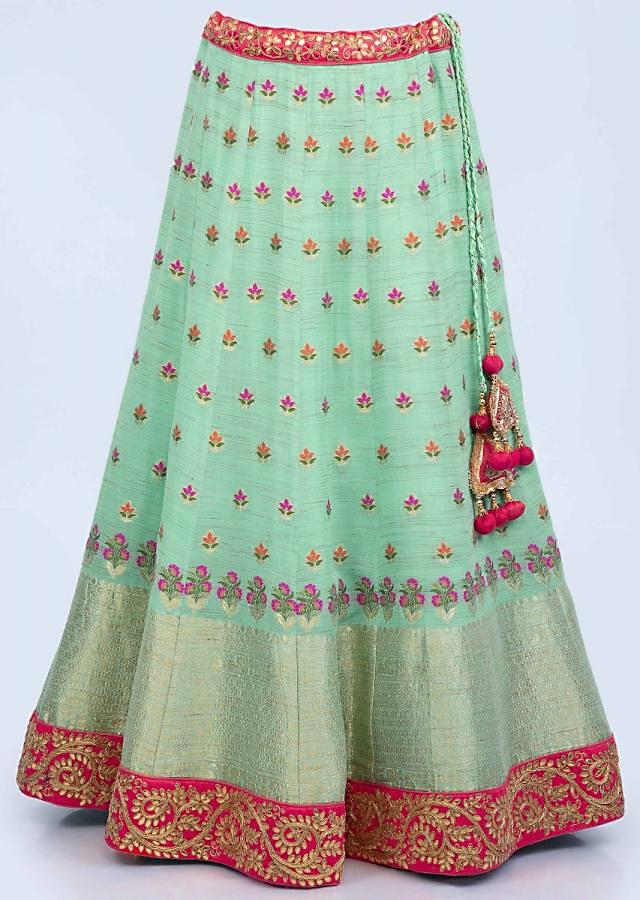 Sea Green Lehenga In Weaved Georgette Paired With A Contrasting Red Dupatta Online - Kalki Fashion