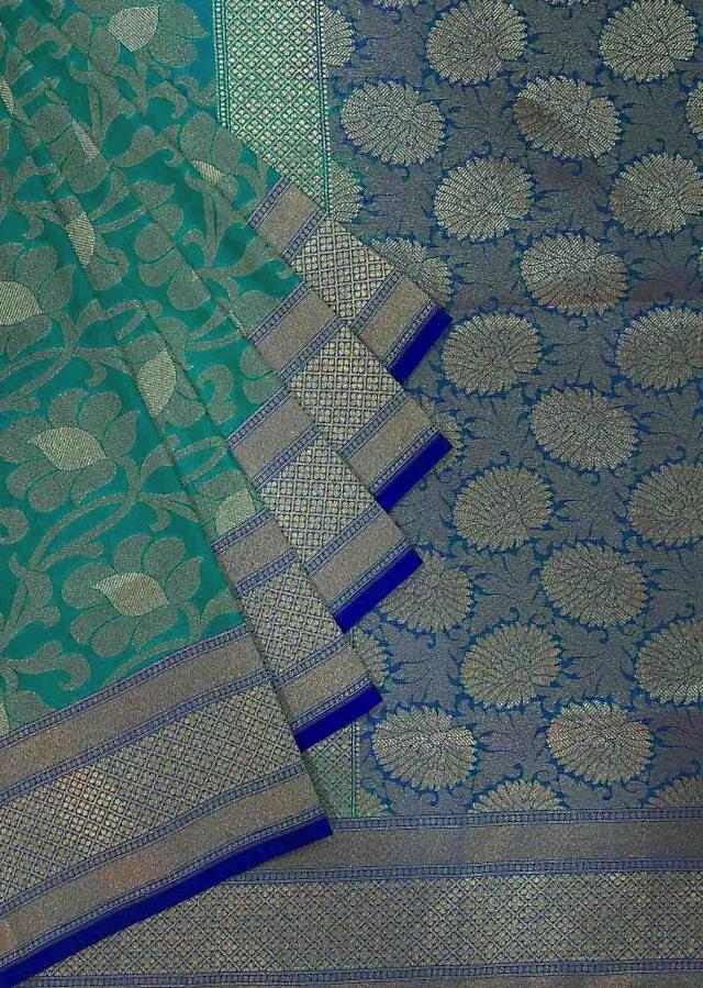 Sea blue saree featuring in floral weave only on Kalki