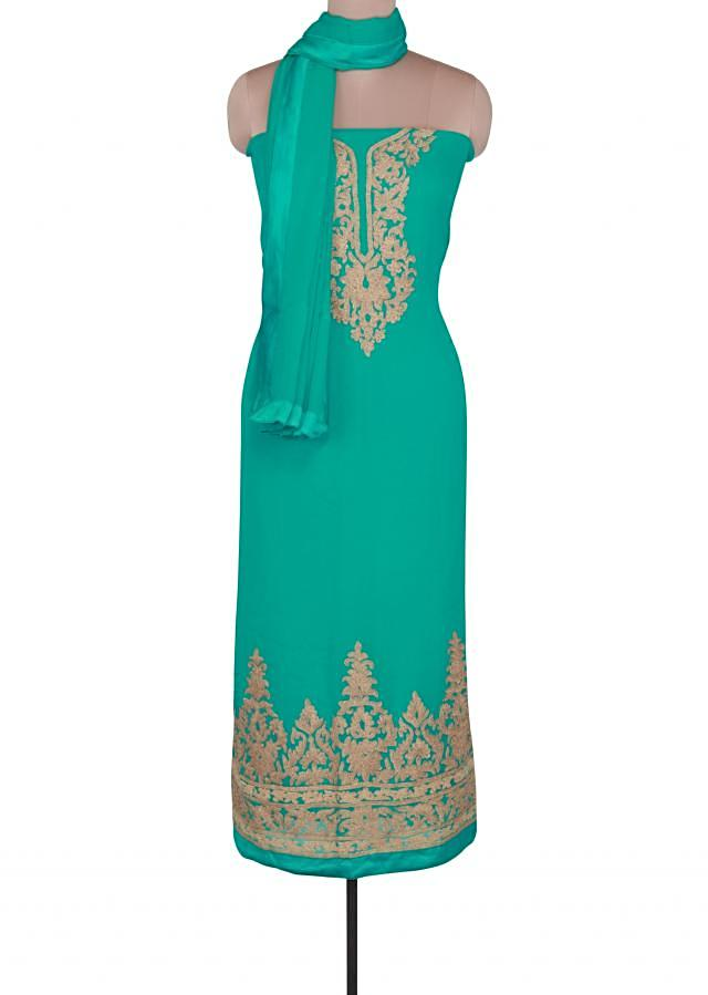 Sea blue unstitched suit featuring in zari embroidery only on Kalki