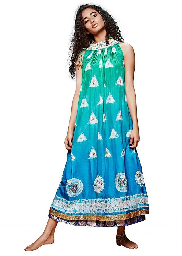 Sea green and blue midi dress in tie and dye only on Kalki