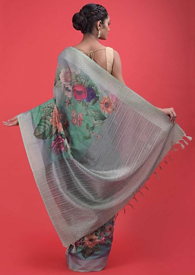 Sea Green Ombre Saree In Cotton Silk With Printed Floral Bouquet Motifs And Kundan Work Online - Kalki Fashion