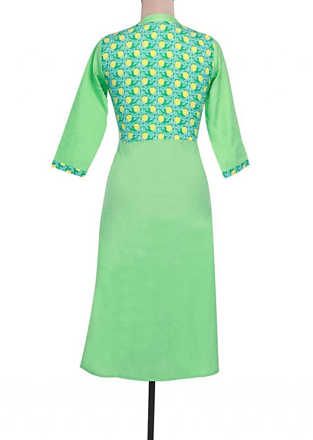 Sea green printed kurti with contrast placket button only on Kalki