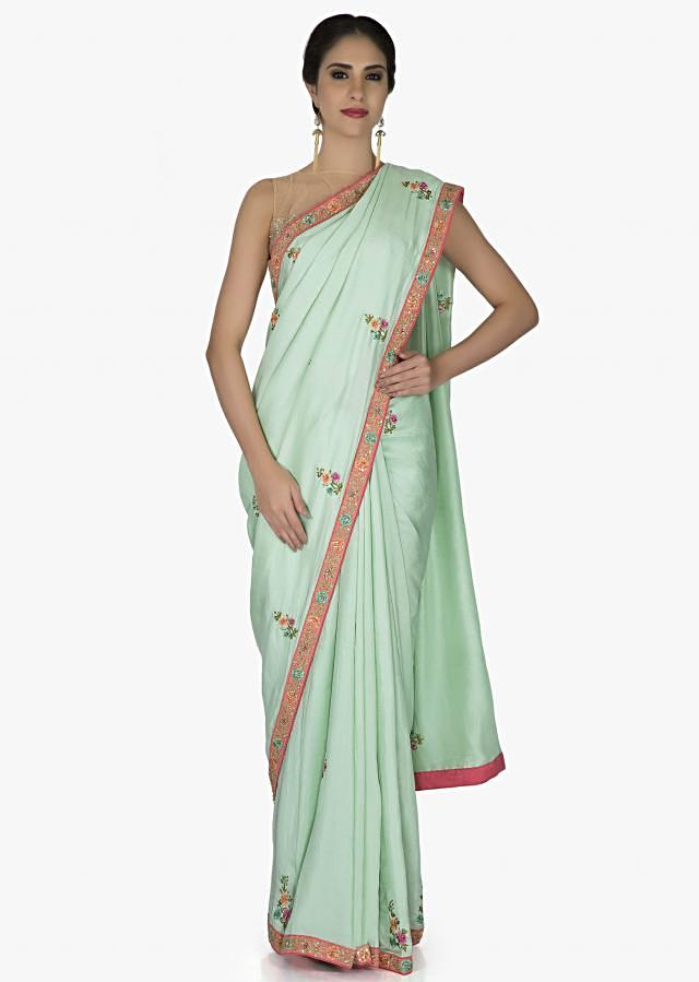 Sea Green Saree In Silk And Pink Raw Silk Blouse With Resham Butti And Sequins Online - Kalki Fashion