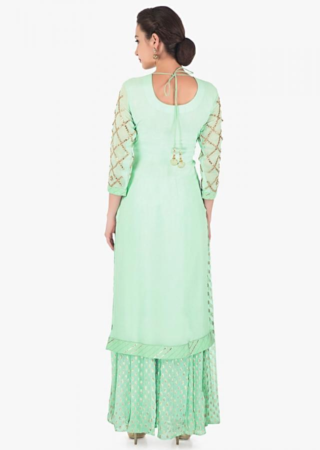 Sea green straight palazzo suit in georgette with gotta patch embroidery only on Kalki