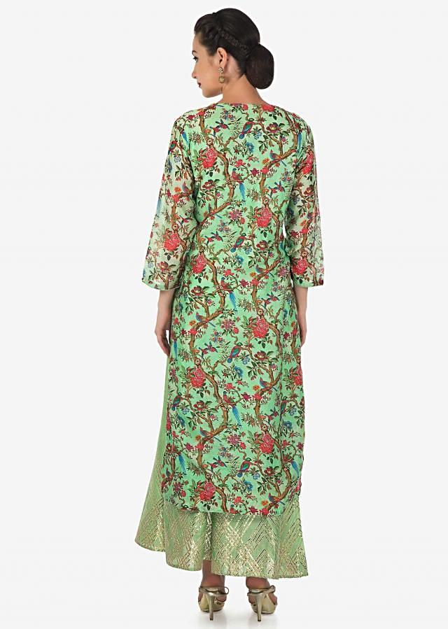 Sea green straight printed palazzo suit with gotta patch and zari embroidery only on Kalki