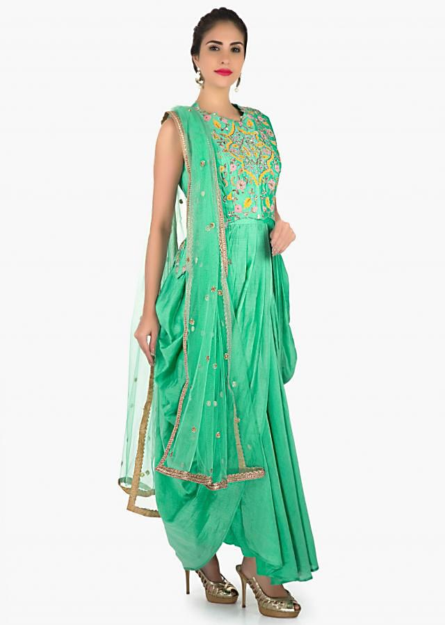 Sea green suit in cowl drape and embroidered jacket only on Kalki