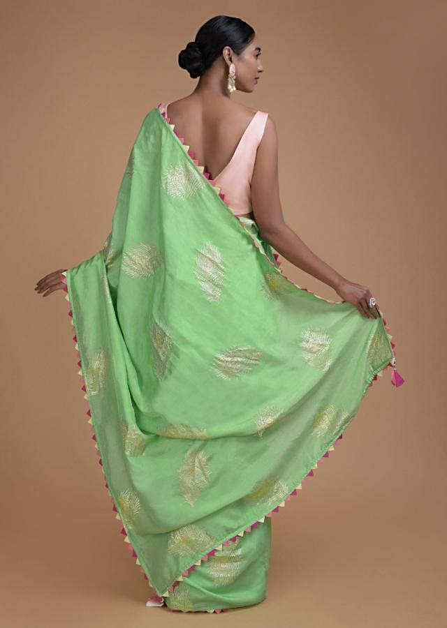 Seafoam Green Saree In Cotton Silk With Weaved Peacock Feather Motifs Online - Kalki Fashion