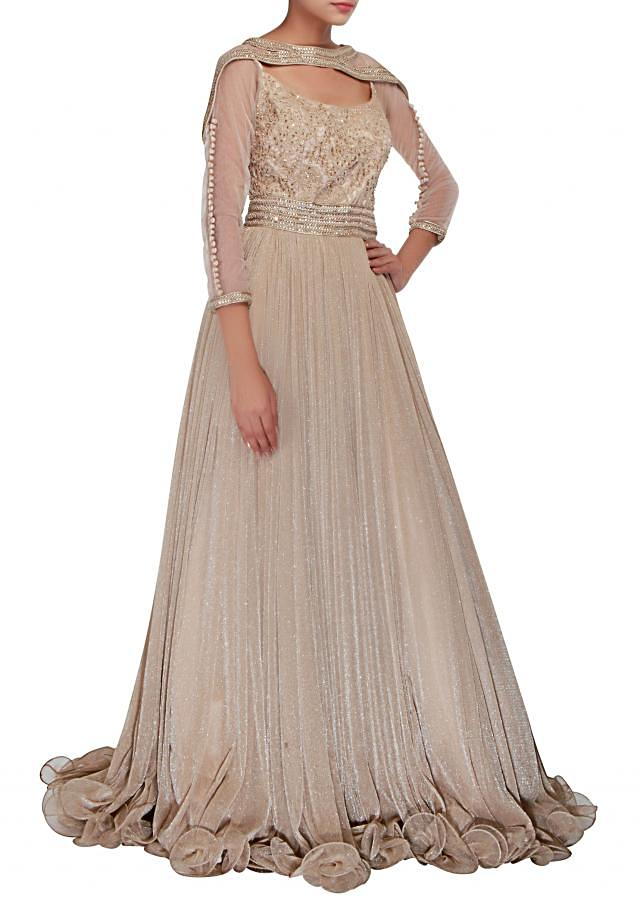 Seasam grey gown adorn in pearl and thread embellishment only on Kalki
