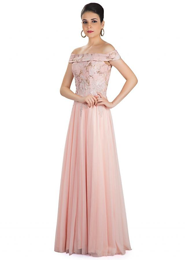Seashell Pink Georgette Net Gown Crafted with 3D Flower and Cut Dana Work only on Kalki