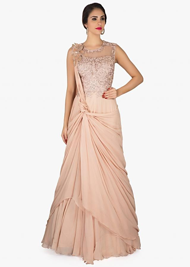 Seashell pink gown in twisted drape with embroidered bodice only on Kalki