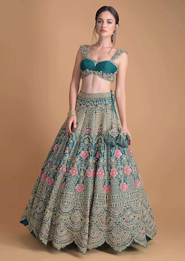 Seaside Blue Lehenga Heavily Hand Embellished In Floral Motifs In Repeat Kali Pattern Online - Kalki Fashion