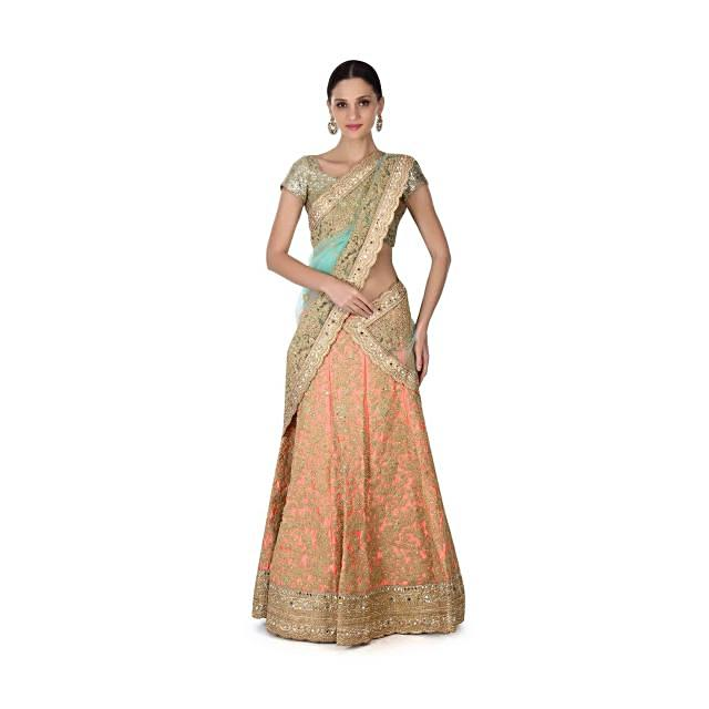 Semi stitched coral lehenga in zari and moti embroidery only on Kalki