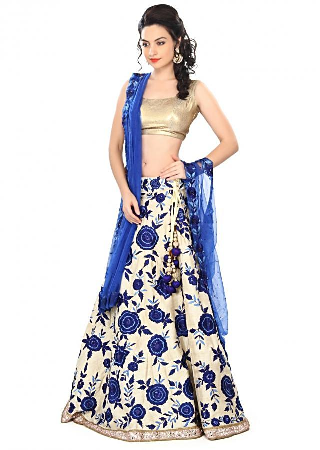 Semi stitched lehenga featuring in beige with resham embroidery only on Kalki