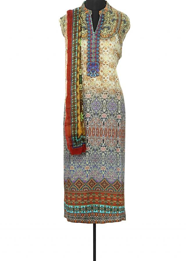 Semi stitched suit enhanced in print and kundan embroidery only on Kalki