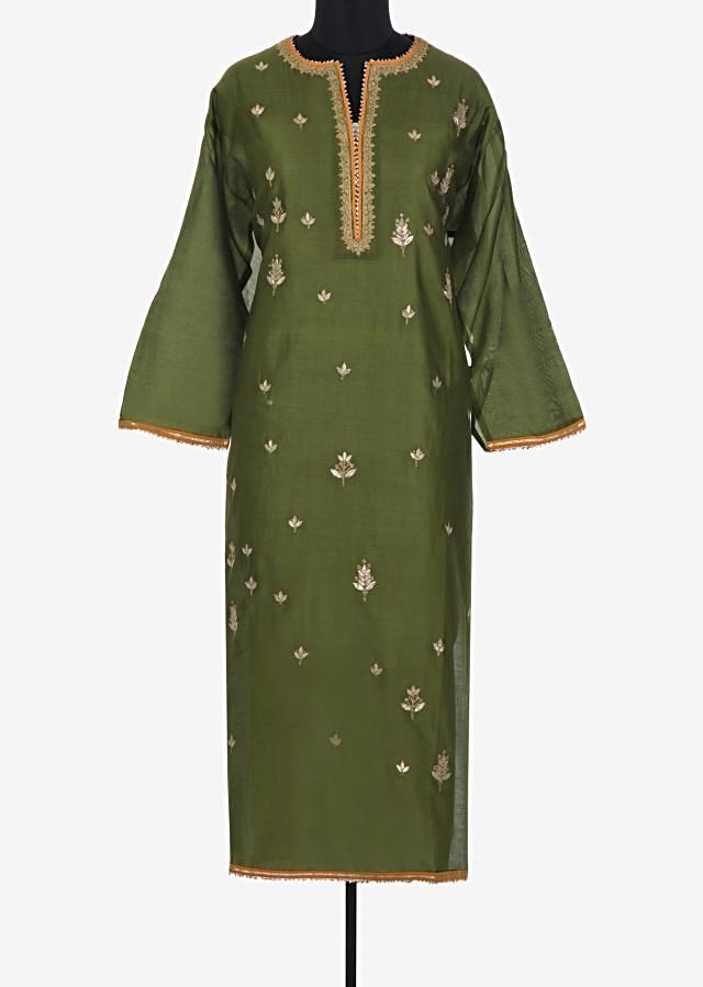 Semi stitched suit in mehendi green with gotta patch placket and butti only on Kalki