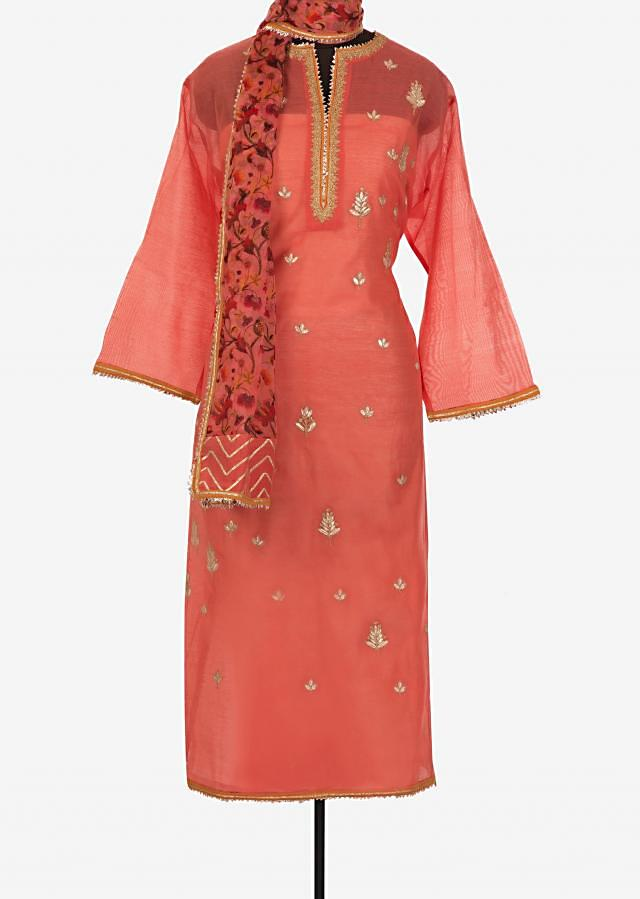 Semi stitched suit in peach with gotta patch placket and butti only on Kalki