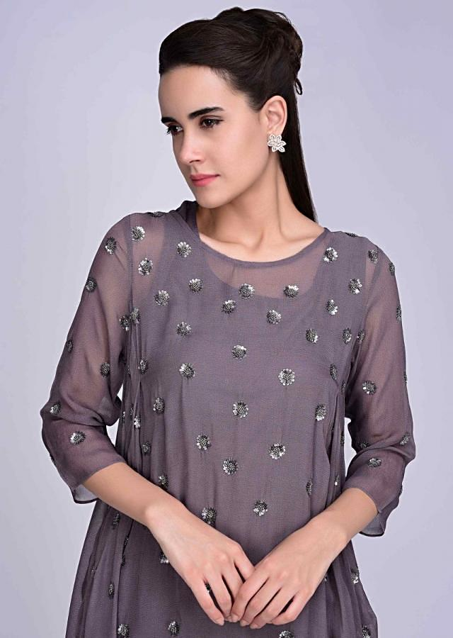 Graphite Grey Suit In Sequin Embroidered Georgette With Matching Pant Online - Kalki Fashion