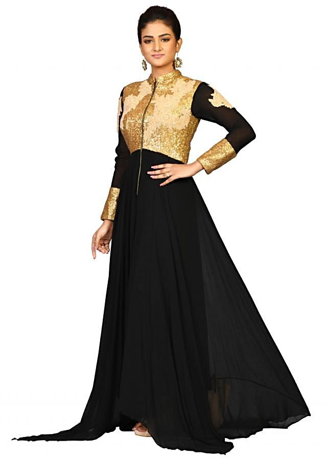 Sequin Black suit in georgette embellished in sequin thread embroidery only on Kalki