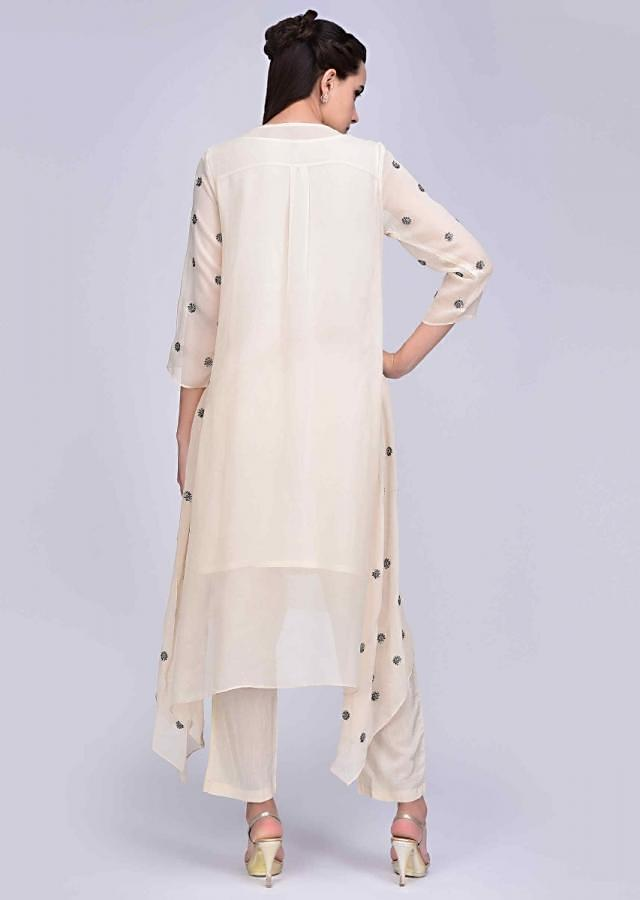 Ivory Suit In Sequins Embroidered Georgette With Asymmetric Hem And Matching Pant Online - Kalki Fashion