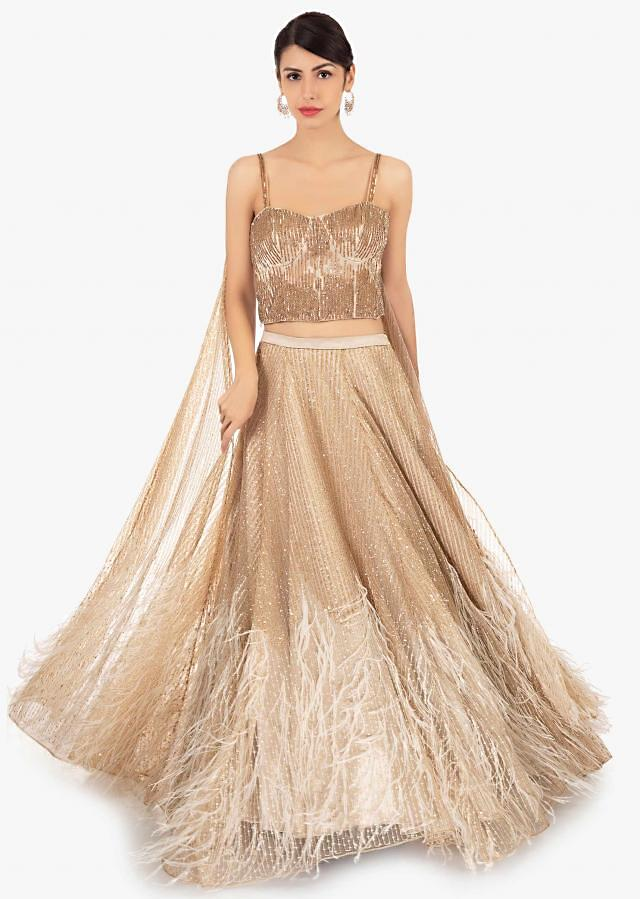 Gold Lehenga Choli In Sequins Embroidered Net With Pre Attached Dupatta Online - Kalki Fashion
