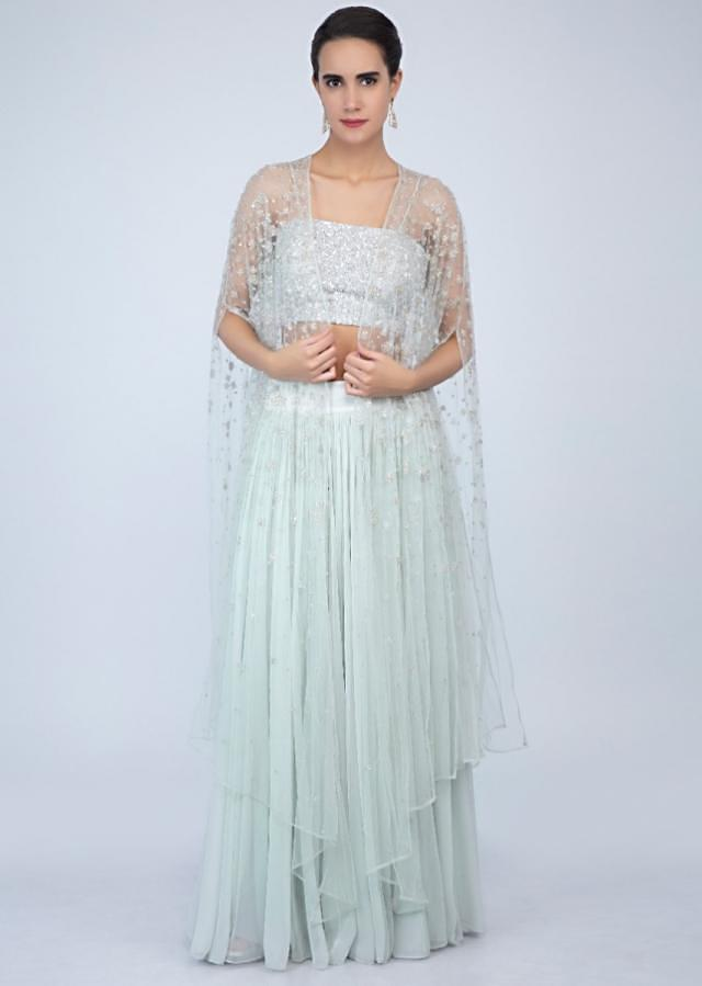 Sequins embroidered strap top with flared skirt and embroidered net jacket only on Kalki