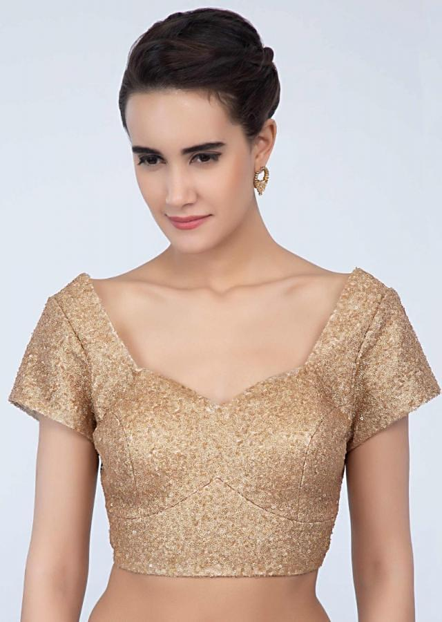 Sequins fabric honey gold blouse with princess line only on Kalki
