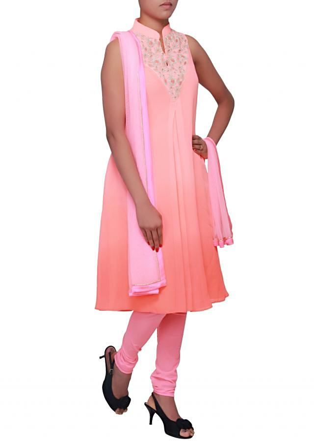 Shaded A line suit featuring in pink adorn in zardosi only on Kalki