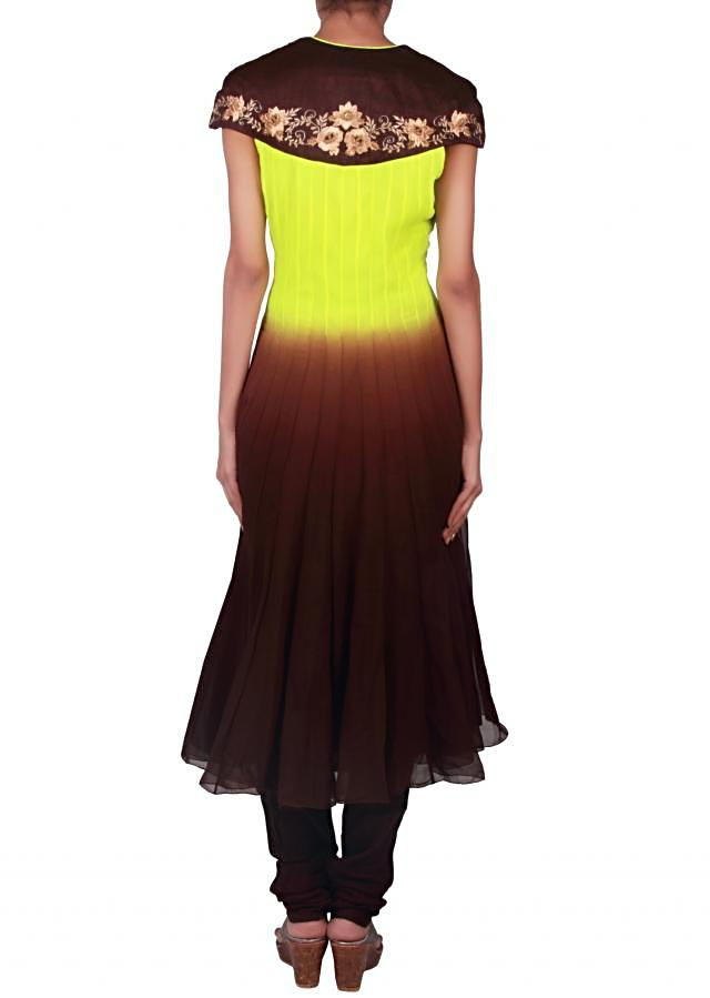 Shaded anarkali suit in green and brown enhanced in resham embroidery only on Kalki