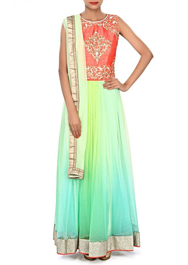 Shaded anarkali suit in green embellished in zardosi and kundan embroidery only on Kalki