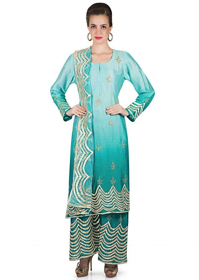 Shaded Blue Cotton Silk Top and Palazzo Pants with Gotta Lace Work only on Kalki
