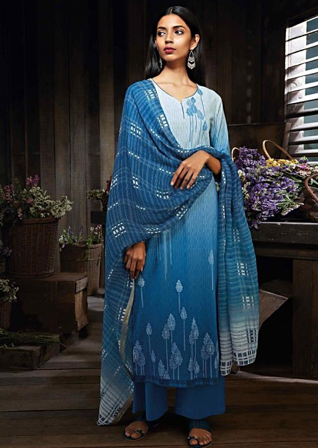 Shaded cream and blue unstitched suit in cotton silk with print and sequin work
