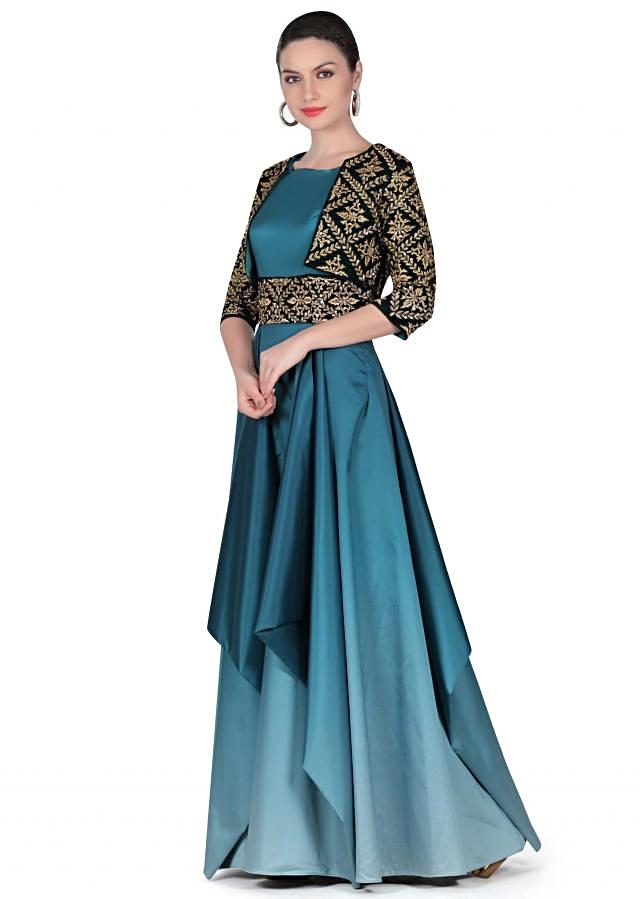 Shaded gown in blue with embroidered jacket only on Kalki