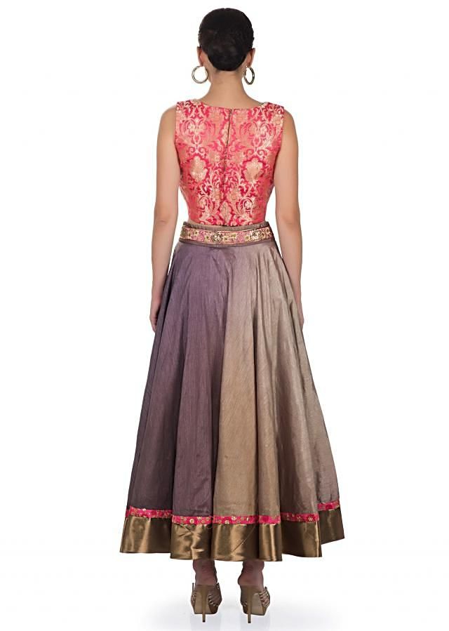 shaded grey raw silk skirt with embroidered waist and pink brocade top only on kalki