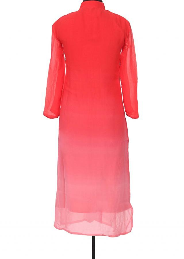 Shaded kurti featuring in pink and coral with sequin only on Kalki