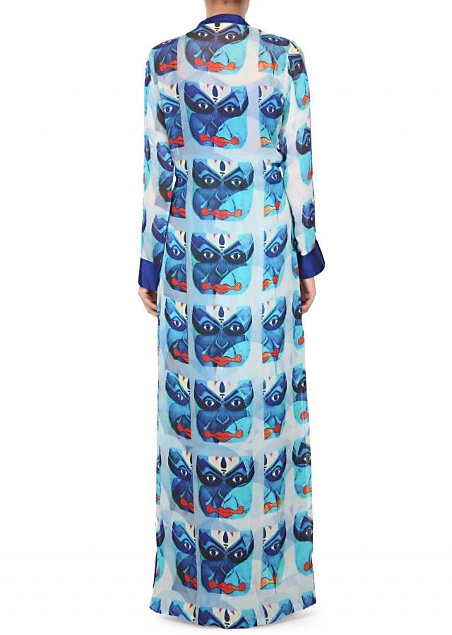 Shaded kurti in blue with printed jacket only on Kalki