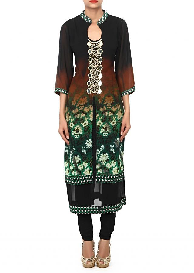 Shaded kurti in green and black enhanced in zari and mirror embroidery only on Kalki