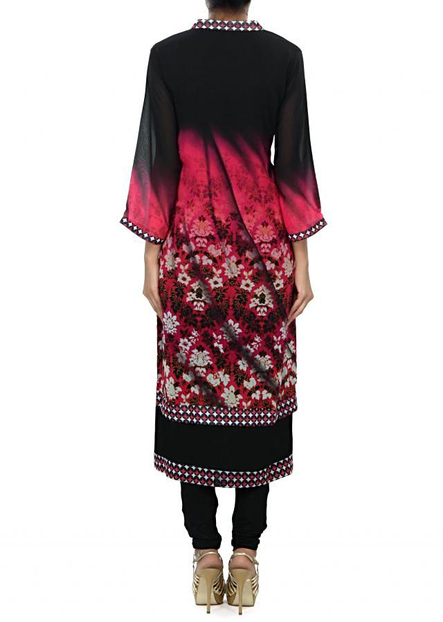 Shaded kurti in pink and black enhanced in zari and mirror embroidery only on Kalki