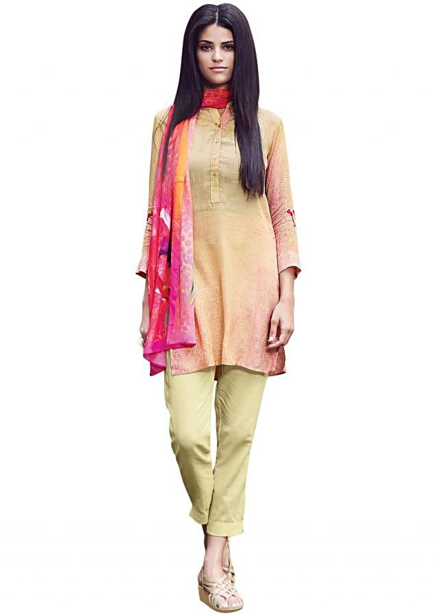 Shaded kurti matched with abstract printed scarf