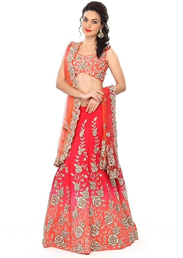 Shaded lehenga in orange and pink with zardosi embroidery only on Kalki