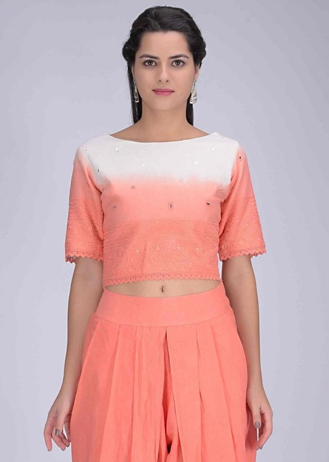 Shaded lei flower peach cotton crop top and dhoti set only on Kalki