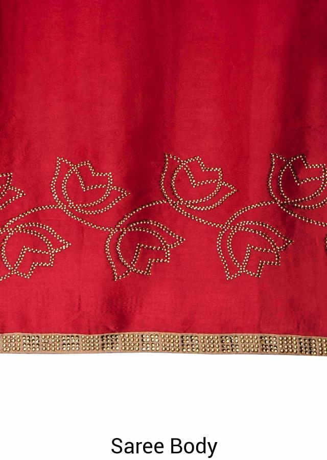 Shaded maroon satin georgette saree designed with kundan work only on Kalki