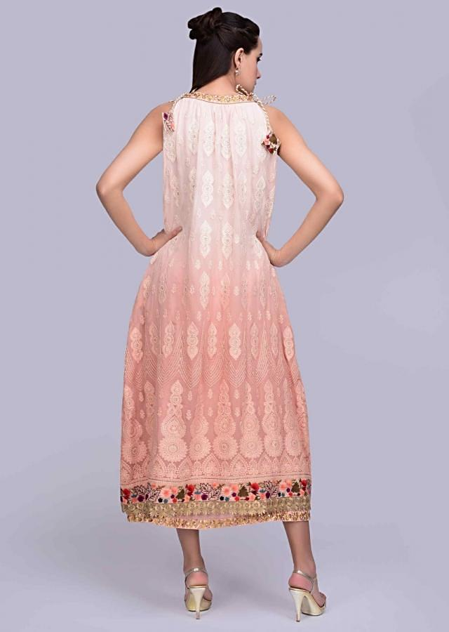 Shaded peach lucknowi embroidered tunic dress with zari highlight only on Kalki