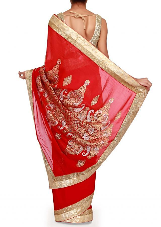 Shaded saree adorn in gold and silver embroidery only on Kalki