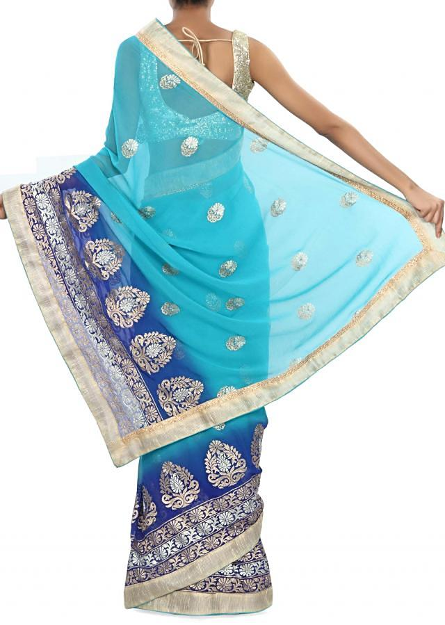 Shaded Saree embellished in zari embroidery only on Kalki