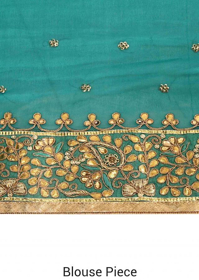 Shaded saree enhanced in gotta patch embroidered border only on Kalki
