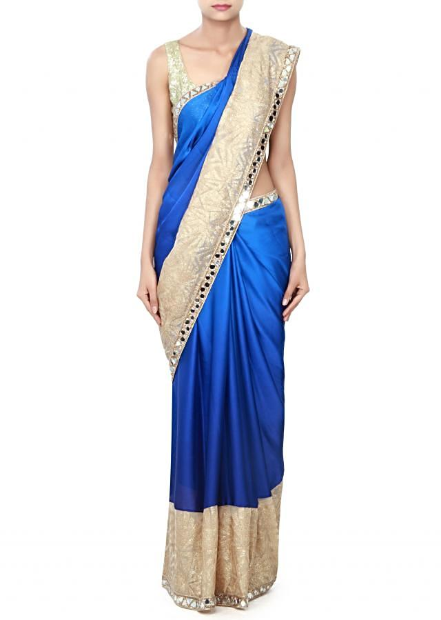 Shaded saree in blue adorn in mirror and sequin only on Kalki