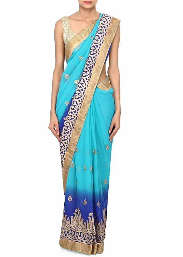 Shaded saree in blue and royal with zari embroidery only on Kalki