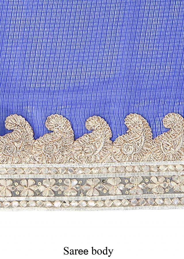 Shaded saree in blue enhanced in gotta lace border only on Kalki