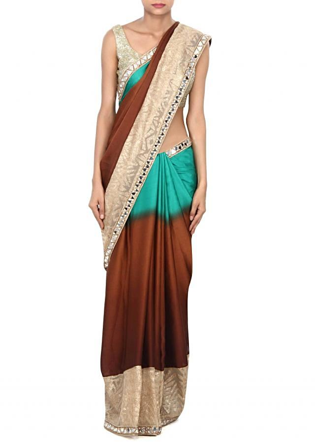 Shaded saree in brown and green with sequin and mirror border only on Kalki